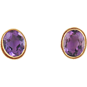 14kt Yellow Gold Amethyst Earrings