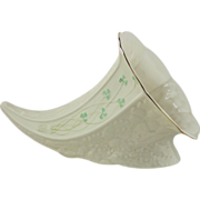 Irish Belleek Cornucopia - Shamrock Pattern