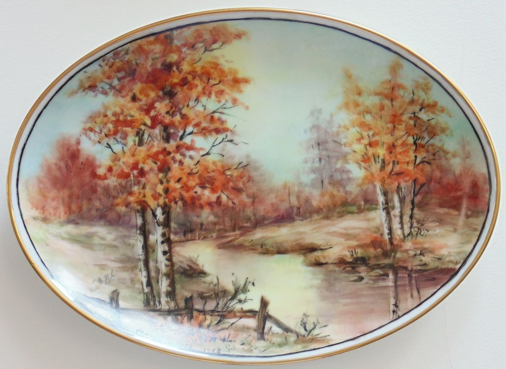 Hand Painted Porcelain Plates -4 Seasons by Surber   circle oval and other form   Pinterest & Hand Painted Porcelain Plates -4 Seasons by Surber   circle oval and ...
