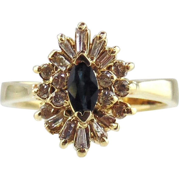 14kt Yellow Gold Ring Sapphires & Diamonds