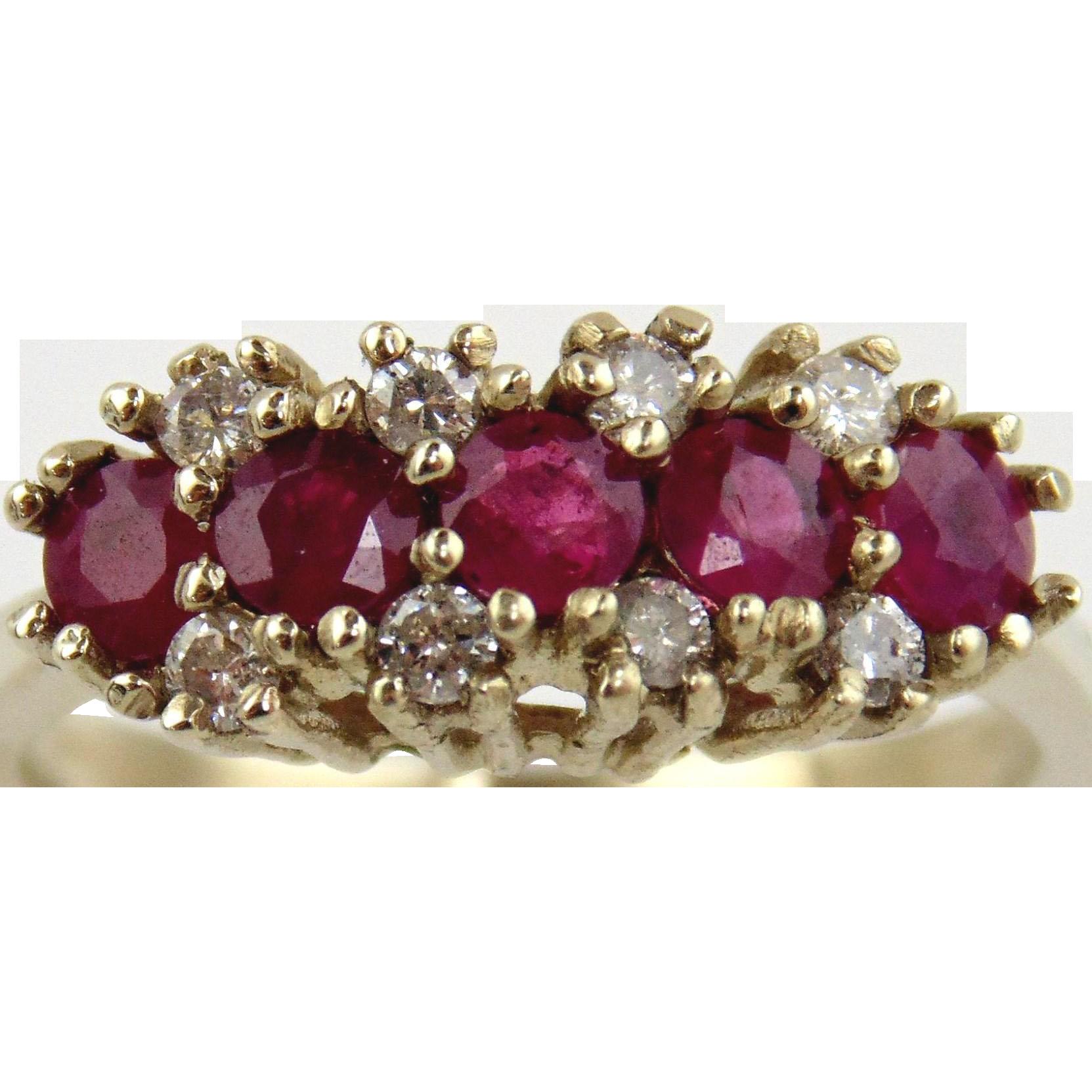 Ruby & Diamond 14kt White Gold Ring, Size 5 1/4