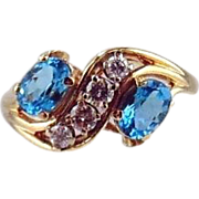 14kt Two tone Gold Ring - Blue Topaz &  Diamonds