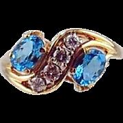 14kt Two tone Gold Ring - Blue Topaz &  Diamonds