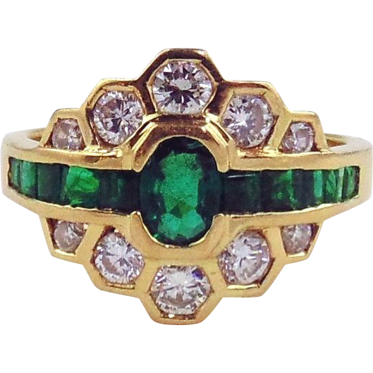18kt Yellow Gold Emerald and Diamond Ring Size 8 3/4