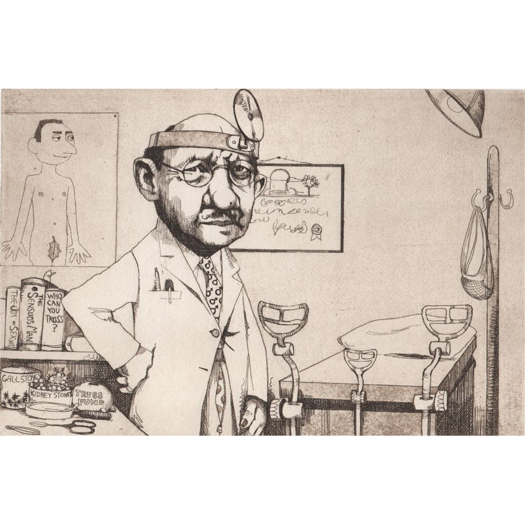 "Original Etching ""Urologist"" by Charles Bragg-Satirical"
