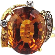18kt Two-tone Gold Ring-Citrine & Diamonds