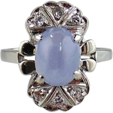 14KT White Gold Ring-Vintage-Star Sapphire & Diamonds