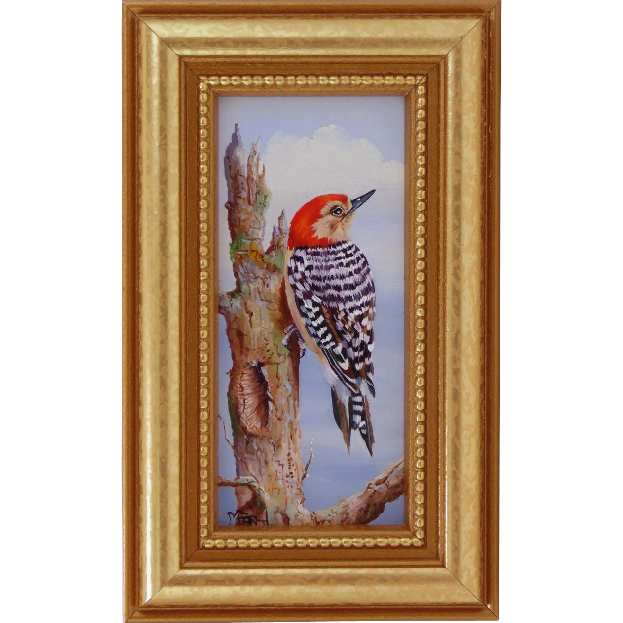 Red Head Woodpecker-Miniature Oil Painting from ...