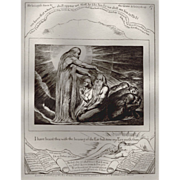 Antique Engraving by William Blake - Book of Job, circa 1874