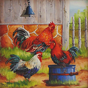 'Dinner Bell'- Roosters-Miniature Oil Painting by Gail MacArgel