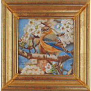 Female Blue Bird in Pear Tree, Miniature Oil Painting by Beverly Abbott