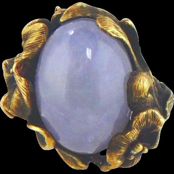 Lavender Jadeite & Diamond Ring 14kt Green Gold-Size 7 1/4