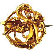 18kt Yellow Gold Vintage Ladies Brooch - Dragon Design