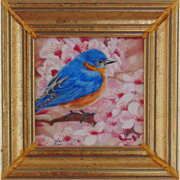 Male Bluebird in Cherry Tree-Miniature Oil Painting by Beverly Abbott