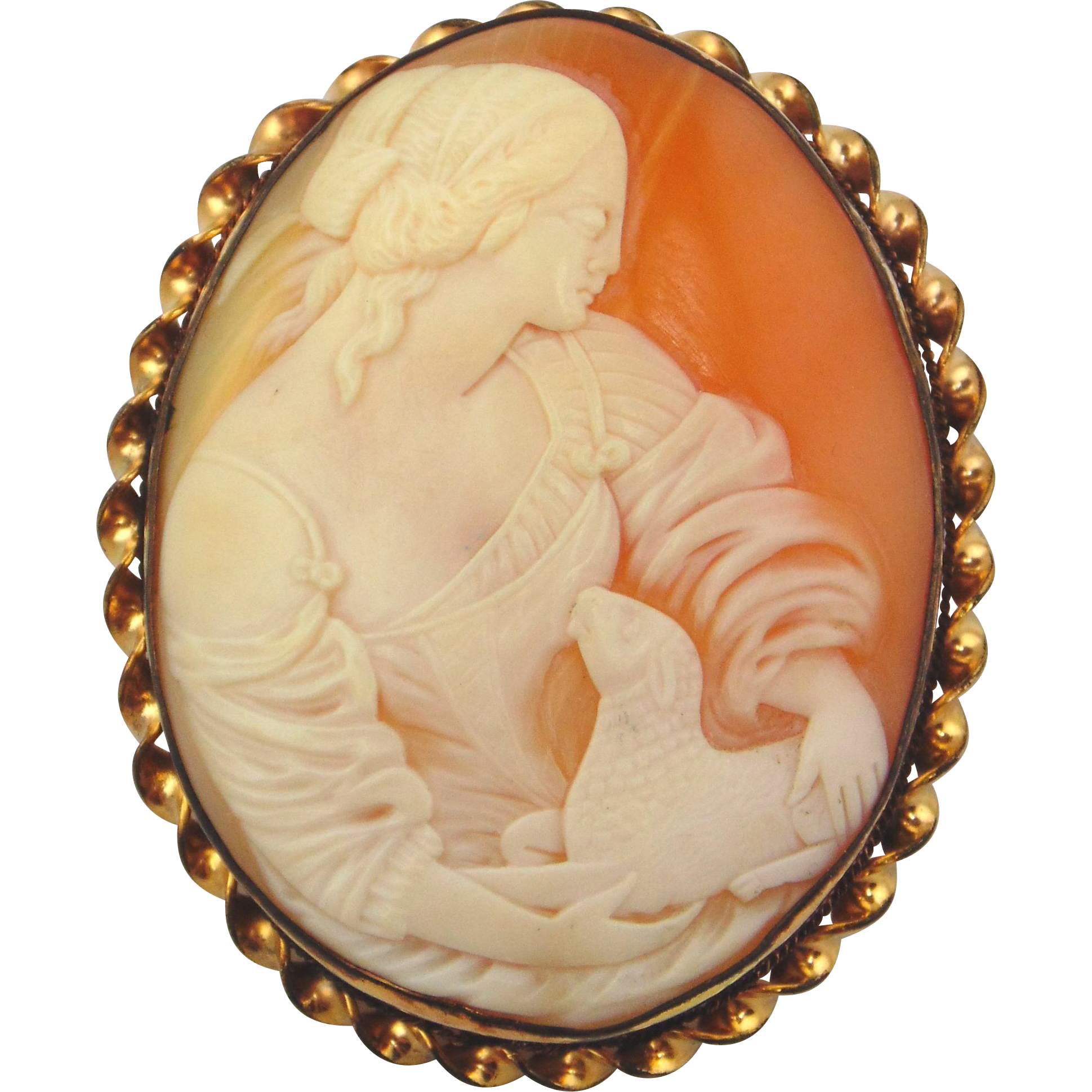 Vintage Cameo of A Shepherdess Holding Lamb-10kt Yellow Gold