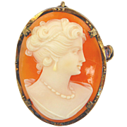 Vintage Sterling Silver Cameo Pin/Pendant With Gold Vermeil