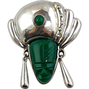 Sterling Silver Pin With Green Stone Mayan Tribal Mask