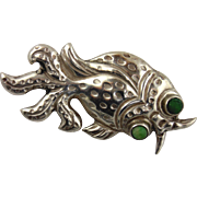 Sterling Silver Fish Pin With Green Stone Eyes-Mexico