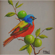 Miniature Oil Painting of Painted Bunting by MacArgel