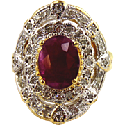 Ruby and Diamond Ring 14kt Two Tone Gold size 7 1/4