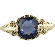 Blue Spinel and 14kt White Gold Ring size 7 3/4