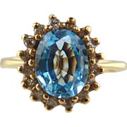 Blue Topaz & Diamond Ring 14kt Yellow Gold
