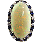 Opal, Sapphire & Diamond Ring 18kt White Gold