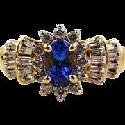 Tanzanite & Diamond Ring 14kt Yellow Gold