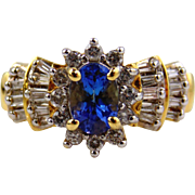 Tanzanite & Diamond Ring 14kt Yellow Gold