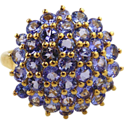 Tanzanite Ladies Cluster Ring 14kt Yellow Gold
