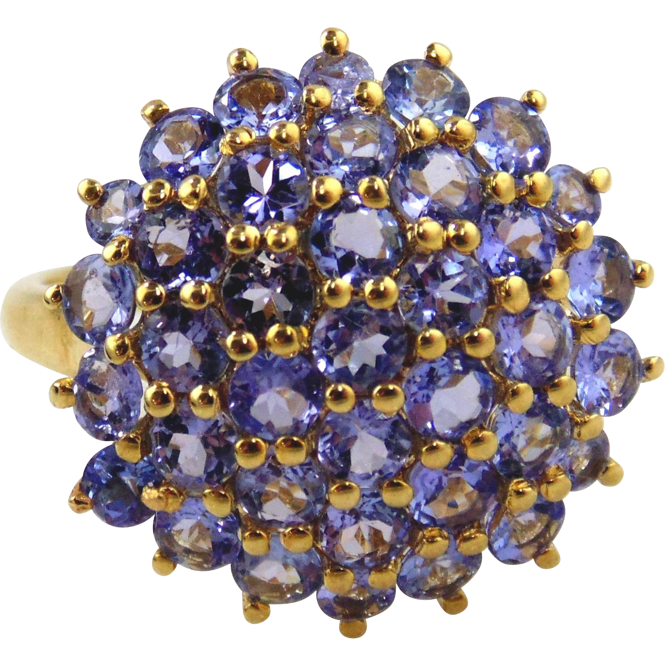 Tanzanite Ladies Cluster Ring 14kt Yellow Gold