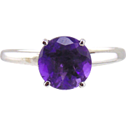 Amethyst Solitaire Style Ring 14kt White Gold