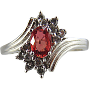 Padparadscha Sapphire & Diamond Ring 10kt White Gold
