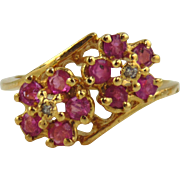 Pink Sapphire & Diamond Ring 14kt Yellow Gold