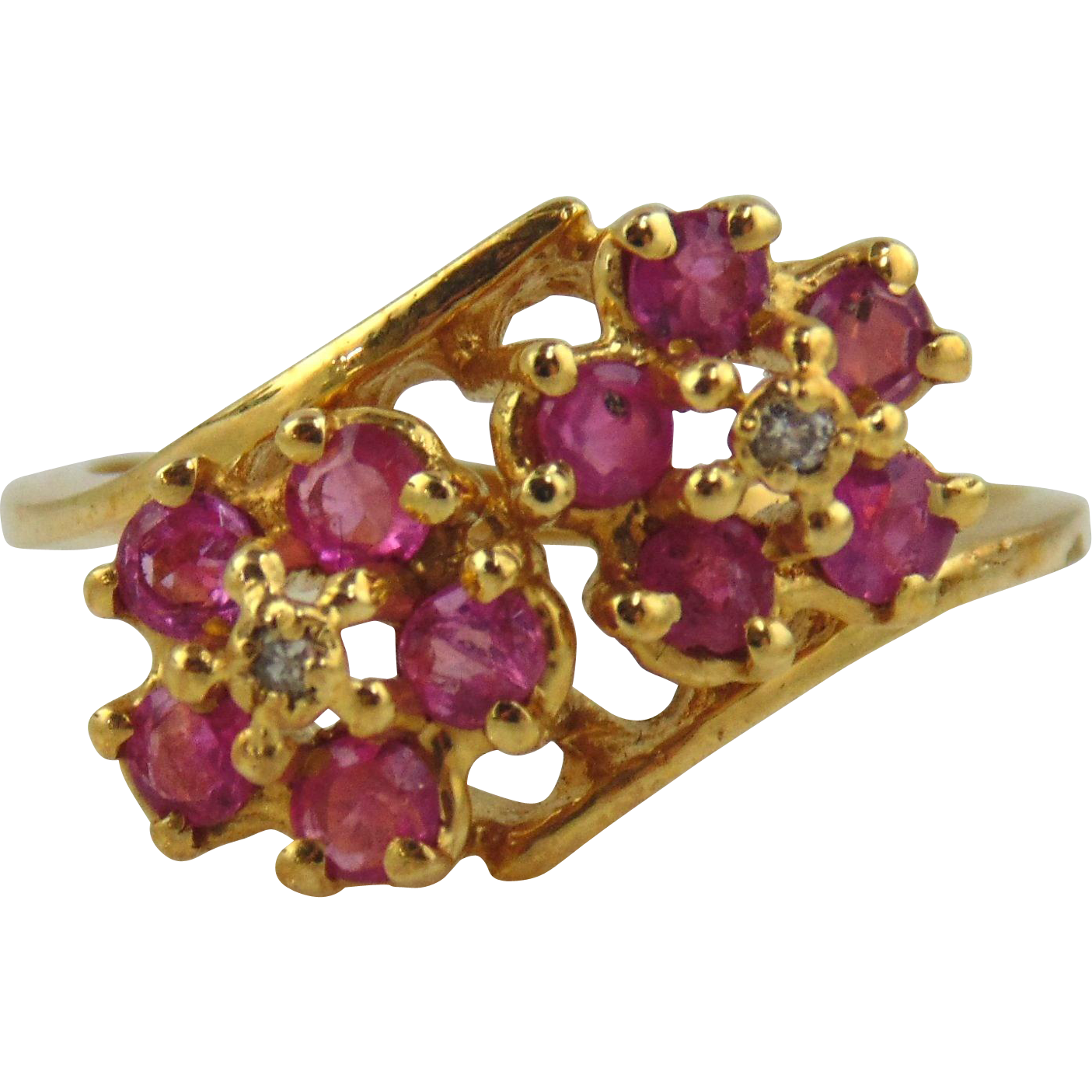 Pink Sapphire & Diamond Ring 14kt Yellow Gold