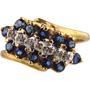 Sapphire & Diamond Ring 10kt Yellow Gold