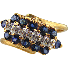 Sapphire & Diamond Ring 10kt Yellow Gold