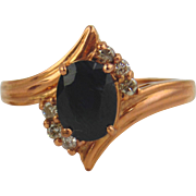 Sapphire & Diamond Ring 14kt Rose Gold