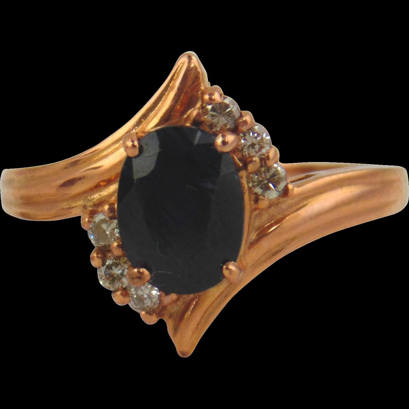 Sapphire & Diamond Ring 14kt Rose Gold