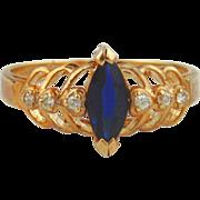 Sapphire & Diamond Ring 14kt Yellow Gold