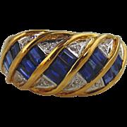 Sapphire & Diamond Ring 18kt Yellow Gold