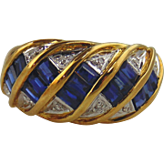 Sapphire & Diamond Ring 18kt Yellow Gold