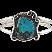 Turquoise & Silver Cuff Bracelet-Vintage Navajo