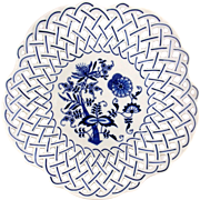 Blue Onion Reticulated Porcelain Dinner Plate-JAPAN
