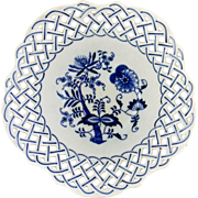 Blue Onion Reticulated Porcelain Serving Bowl-JAPAN