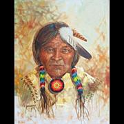 "Original Oil Painting ""Navajo Chief"" by Robert Yellowhair - Native American Indian"