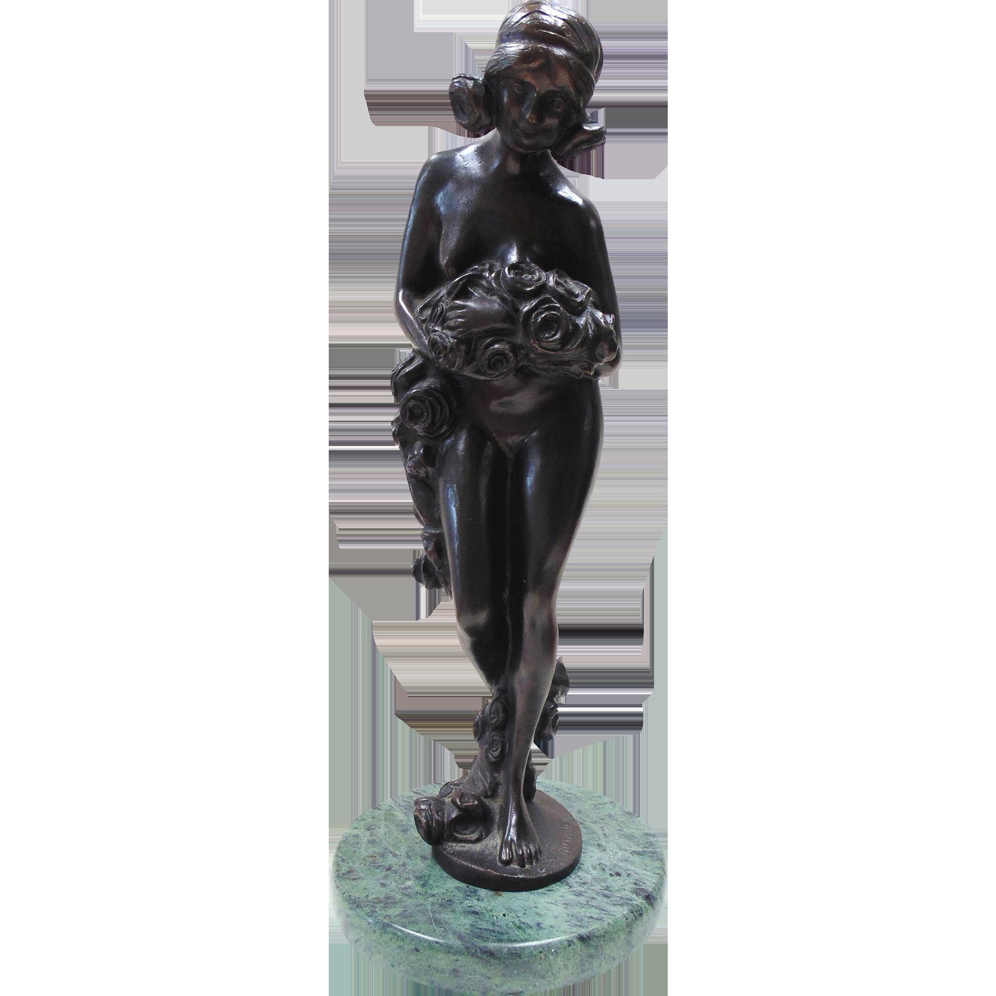 Bronze Standing Nude Sculpture-Signed Rosauer