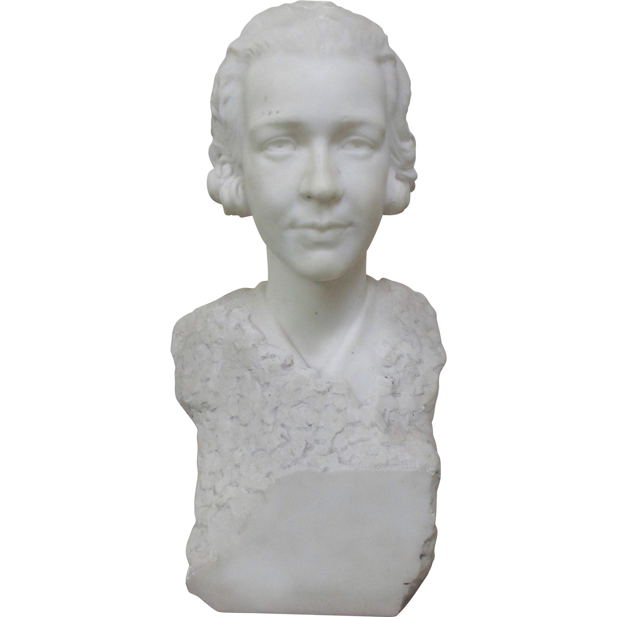 Carved Marble Bust of Young Woman-Signed Cecil Thomas