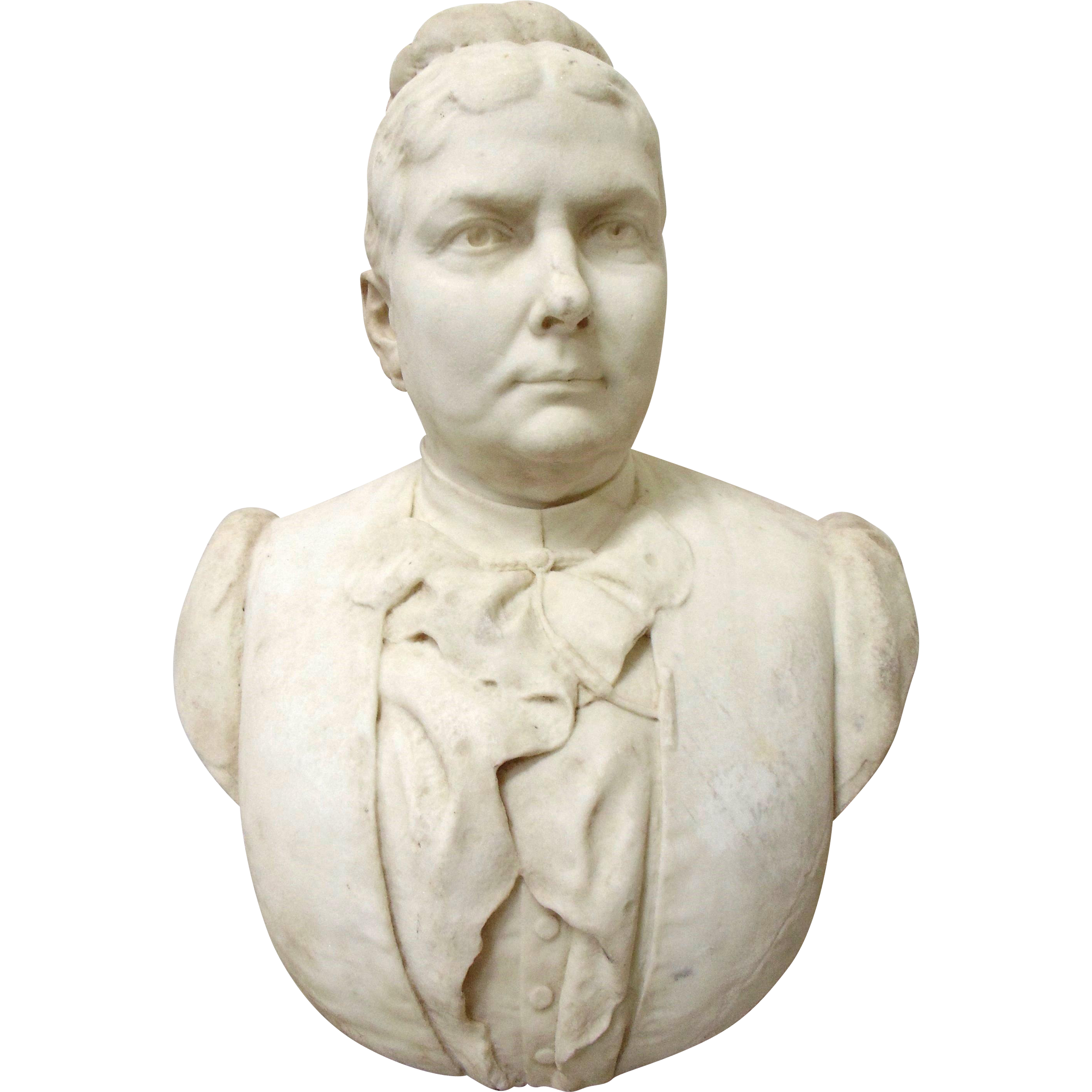 Hand Carved Marble Bust of a Matronly Woman-19th C