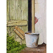 "Original Watercolor Painting by Fini Beunis - ""Barnyard Bucket"""
